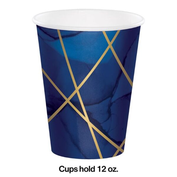 navy blue gold geode cups